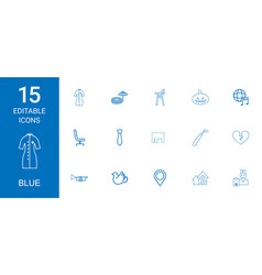 15 blue icons vector