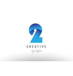 2 two blue gradient number numeral digit logo vector