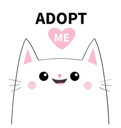adopt me dont buy white cat smiling face vector image