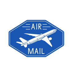 Air mail blue postal sticker or emblem vector