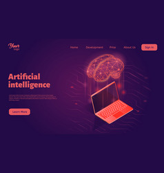artificial intelligence system landing web page vector image