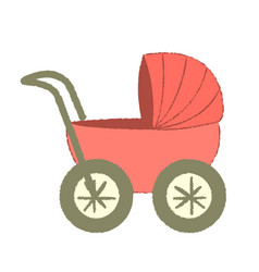 baby cart isolated on white background coral baby vector image