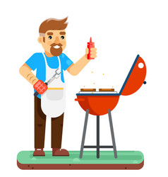 Barbecue man cook grill meat bbq isolated flat vector