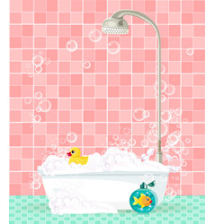 Bathtub with foam soap bubbles rubber duck on vector