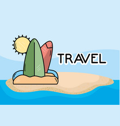 beach surfboards sea tourist vacation travel vector image