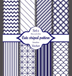 blue and white pattern set 2 vector image
