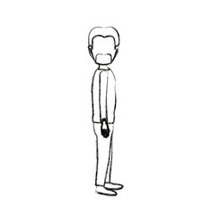 Blurred silhouette cartoon full body faceless male vector