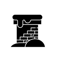 Brick chimney black icon sign on isolated vector