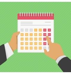 Calendar in hand vector image