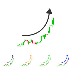 candlestick chart growth trend icon vector image