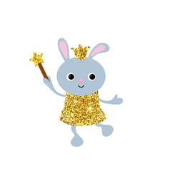 cartoon rabbit with dust glitters cartoon rabbit vector image