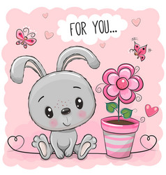Cartoon rabbit with pink flower vector