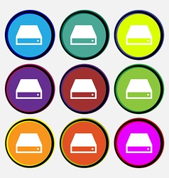 CD-ROM icon sign Nine multi-colored round buttons vector