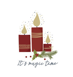 christmas holiday greeting card with candle vector image
