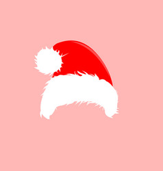christmas red hats icon santa claus costume vector image