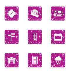 complex icons set grunge style vector image