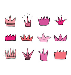crowns doodles set hand drawn royal sketch vector image