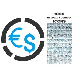Currency Diagram Icon with 1000 Medical Business vector
