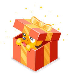 cute cartoon baby yellow dog cub gift box 2018 vector image