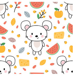 Cute seamless pattern with little mouse cheese vector