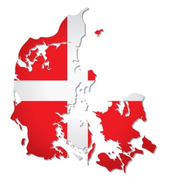 Denmark flag map vector