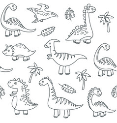 dinosaur outline seamless pattern cute badino vector image