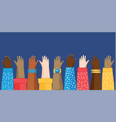 Diverse teen hands raised up isolated background vector