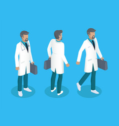 Doctor in uniform working concept icons vector