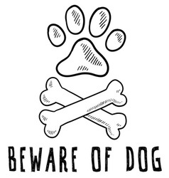 Doodle pet dog beware of dog bone paw print vector