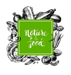 Eco natural food menu background Sketch hand vector image