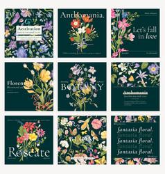 Editable aesthetic floral template blog social vector