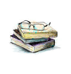 eyeglasses on top stack books vector image