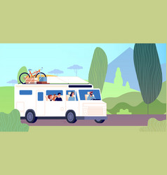 family trip dad mother children road travel vector image