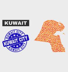 Fired mosaic kuwait map and grunge kuwait city