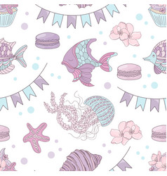 fish holiday underwater seamless pattern il vector image