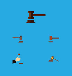 Flat icon hammer set of legal defense government vector