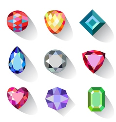 Flat style long shadow colored gems cuts icons vector image