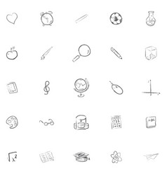 Freehand drawing school items back to school vector