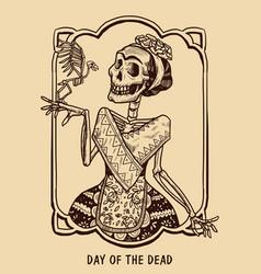Frida kahlo skeleton cartoon design vector
