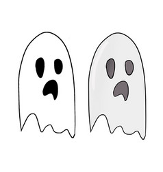 Funny and scary hand drawn halloween ghost vector