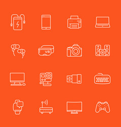 gadgets modern devices icons set linear style vector image