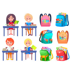 Girl and boy studying backpack sticker vector