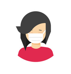 girl in face mask medical icon or woman vector image