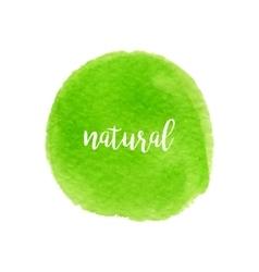 Green watercolor circle fresh eco design vector