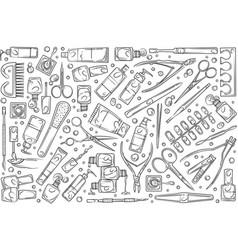hand drawn nail salon tools vector image