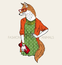 Hand drawn of dressed up fox girl vector