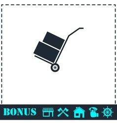 Handcart icon flat vector