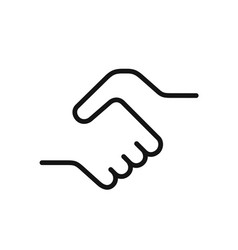 handshake icon simple black one line vector image