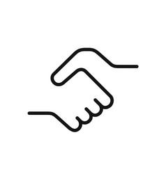Handshake icon simple black one line vector