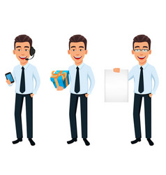 handsome businessman in office style clothes vector image